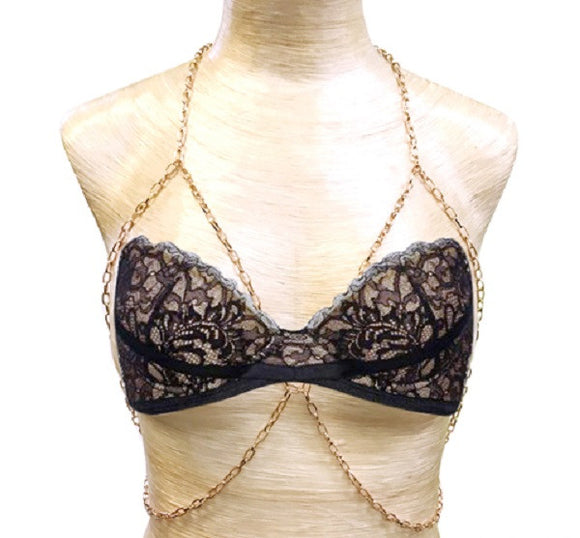 Rose Gold Chain Link Bra Chain
