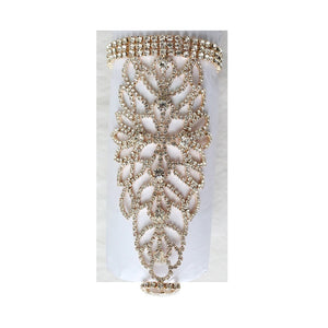 Gold Clear Rhinestone Stretch Hand Chain Attached to Stretch Ring ( 2222 )