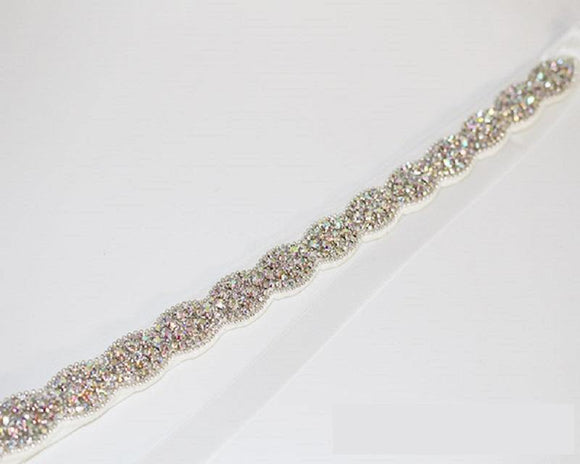 WHITE AB Crystal Handmade Wedding Belt Sash ( 1045 SAB ) - Ohmyjewelry.com
