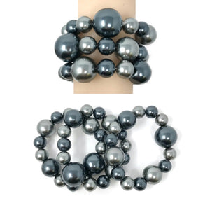 3 Piece Mixed Grays Pearl Stretch Bracelets