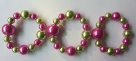 3 Piece Pink and Green Pearl Stretch Bracelets