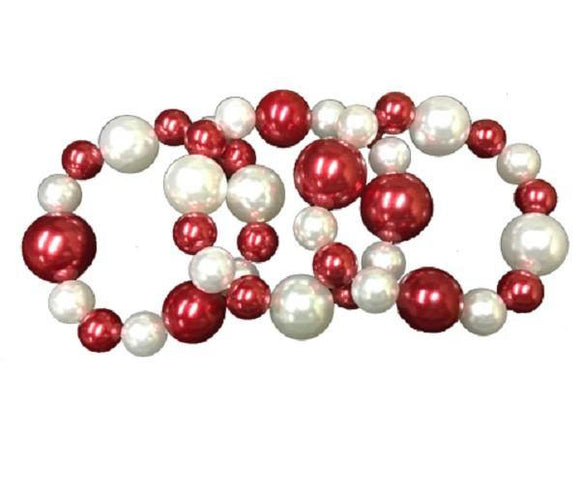 3 Piece Red and White Pearl Stretch Bracelets ( 001 )