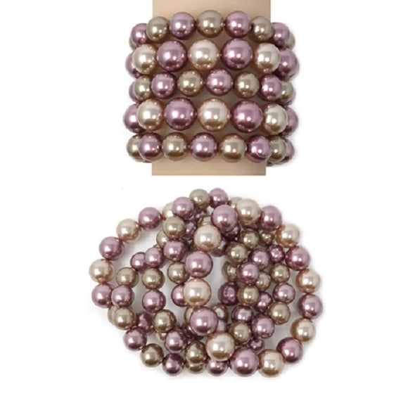 5 Layer Lavender Purple and Brown Beaded Stretch Bracelets