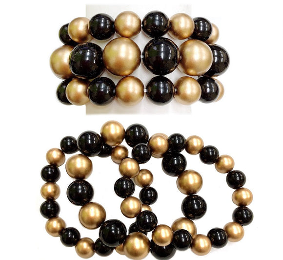 3 Layer Black and Matte Gold Pearl Beaded Stretch Bracelet ( 006 )