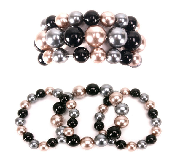 3 Layer Black Mix Pearl Beaded Stretch Bracelet ( 006 )