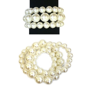 3 Layer Cream Pearl Beaded Stretch Bracelet ( BY006 )