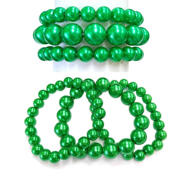 3 Layer GREEN Pearl Beaded Stretch Bracelet ( 006 )