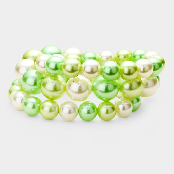 3 Layer Lime Green Mix Pearl Beaded Stretch Bracelet ( 006 )