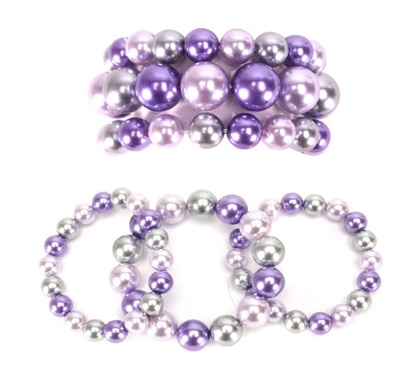 3 Layer Lavender Purple Mix Pearl Beaded Stretch Bracelet ( 006 )