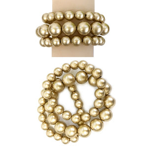 3 Layer Matte Gold Pearl Beaded Stretch Bracelet ( 006 MGD )