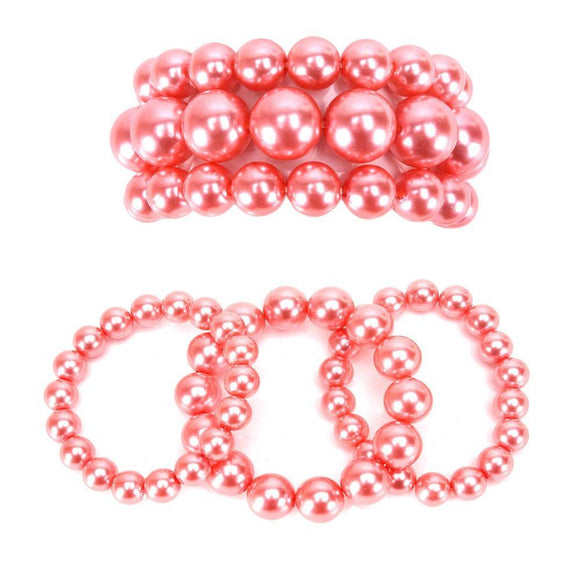 3 Layer PAPAYA PUNCH Pearl Beaded Stretch Bracelet ( 006 )