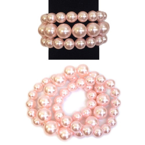 3 Layer Pearl Beaded Stretch Bracelet ( 006 )