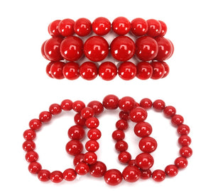 3 Layer Red Bright Pearl Beaded Stretch Bracelet ( 006 RD-1 )