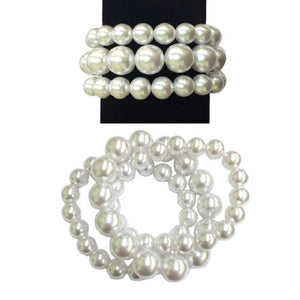 3 Layer White Pearl Beaded Stretch Bracelet
