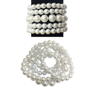 5 Layer Pearl Beaded Stretch Bracelets ( by007 )