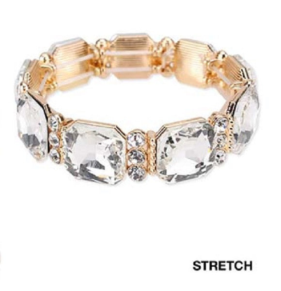 Gold Clear Glass Square Stones Stretch Bracelet