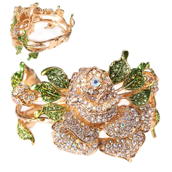 GOLD CLEAR AB AND GREEN RHINESTONE HINGE ROSE BANGLE BRACELET ( 8864 )