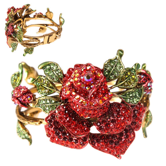 GOLD RED RHINESTONE HINGE ROSE BANGLE BRACELET ( 8864 )