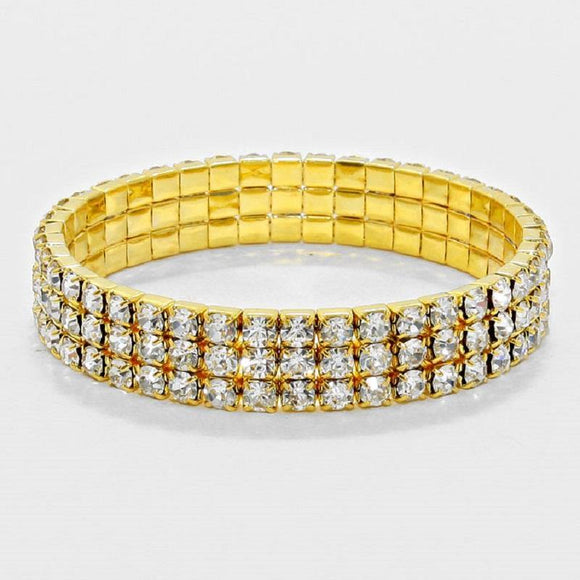 3 LINE GOLD CLEAR RHINESTONE FORMAL STRETCH BRACELET ( 1055 )