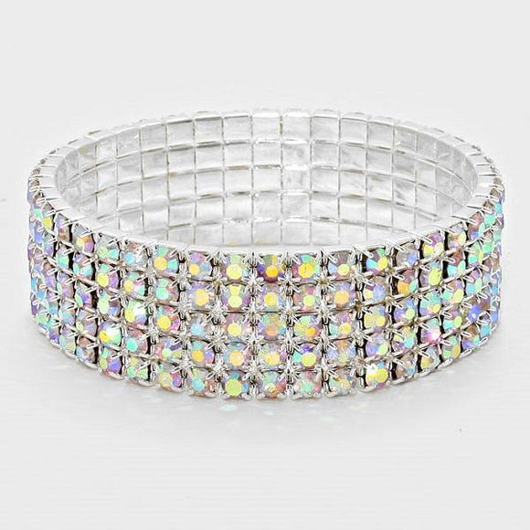 5 Line Silver AB Rhinestone Formal Stretch Bracelet ( 1056 )