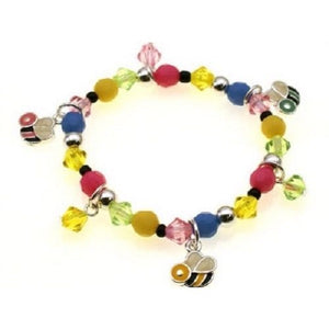 Multi Color Beaded Kids Stretch Bracelet with Bee Charms