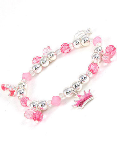 Pink and Silver Beaded Kids Stretch Bracelet with Princess Charms