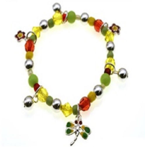 Multi Color Beaded Kids Stretch Bracelet with Dragonfly and Flower Charms