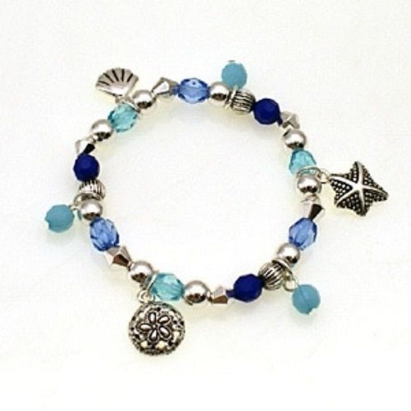 Blue and Silver Beaded Kids Stretch Bracelet with Sea Animal Theme Charms ( 30901 )