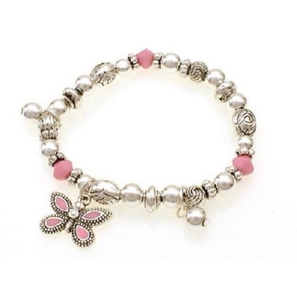 Silver Beaded Kids Stretch Bracelet with Pink Butterfly Charm ( 31555 )
