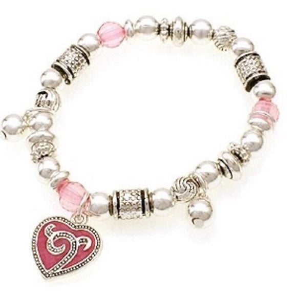 Silver Beaded Kids Stretch Bracelet with Pink Heart Charm
