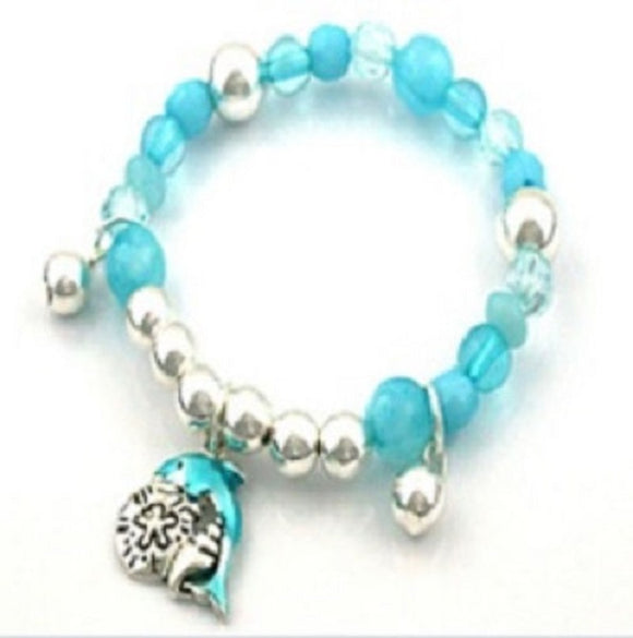 Blue and Silver Beaded Kids Stretch Bracelet with Dolphin Charm ( 31880 )