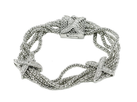 Magnetic Silver Bracelet with Rhinestone X Design