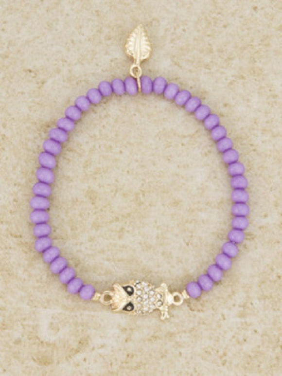 Purple Beaded Stretch Bracelet with Gold Rhinestone Owl Charm ( 4296 )