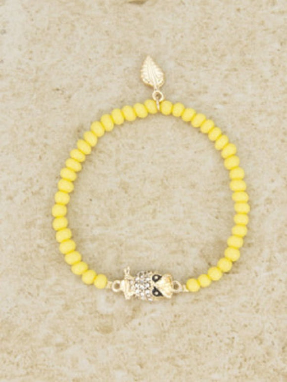 Yellow Beaded Stretch Bracelet with Gold Rhinestone Owl Charm ( 4296 )