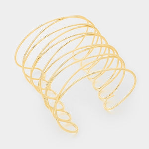 Gold Textured Light Weight Criss Cross Cuff Bracelet ( 6062 )
