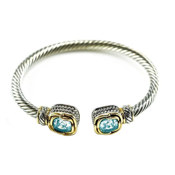 Two Tone Twisted Cable Cuff with Square Aqua Blue CZ Stones ( 681 AQ ) - Ohmyjewelry.com