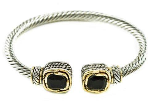 Two Tone Twisted Cable Cuff with Square Black CZ Stones ( 681 BK ) - Ohmyjewelry.com