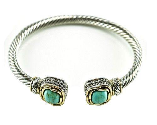 Two Tone Twisted Cable Cuff with Square Turquoise CZ Stones ( 681 TQ )