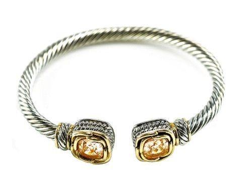 Two Tone Twisted Cable Cuff with Square Topaz CZ Stones ( 681 CH ) - Ohmyjewelry.com