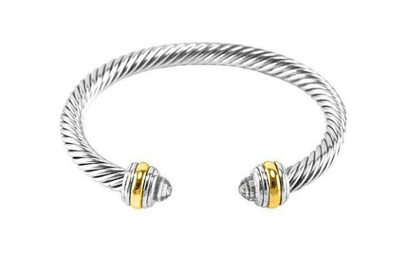 Two Tone Clear Cable Twisted Cuff ( 822 )