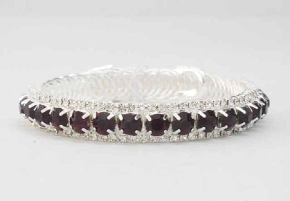 Silver Purple and Clear Crystal Flexible Cuff Bracelet ( 8560 )