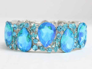 Silver and Aqua Blue AB Teardrop Rhinestones Ivy Formal Stretch Bracelet ( 8587 )