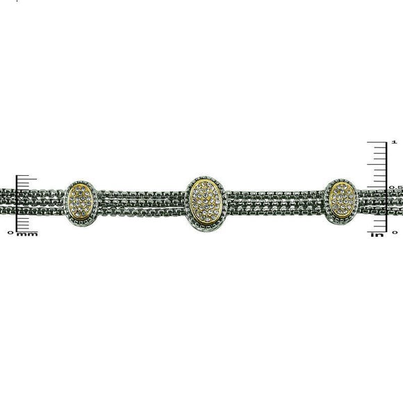 Magnetic Two Tone Bracelet with Pave Ovals ( 917 )
