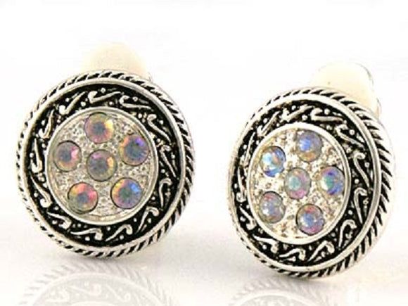 15mm Round AB Rhinestone and Silver Clip On Earrings