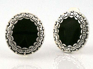 "3/4"" Black and Silver Oval Clip On Earrings"