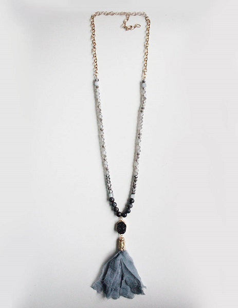 Handmade Gray Fabric Tassel on Glass and Semi Precious Stone Beaded Necklace with Black Druzy Charm