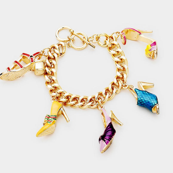 Gold Bracelet with Multi Color Purse and Shoe Charms ( 00171 )