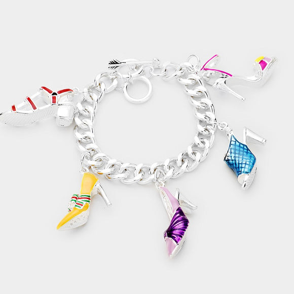 Silver Bracelet with Multicolor Shoe Charms ( 00171 )