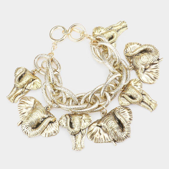 GOLD CHUNKY BRACELET ELEPHANTS ( 00488 AG )
