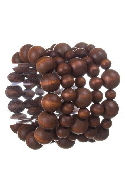 Wooden Brown Beaded 5 Layer Stretch Bracelets ( 0109 )